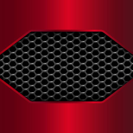 red metal: Geometric pattern of hexagons with red metal plates. Vector Illustration Illustration
