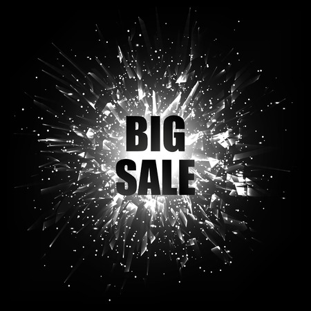 bomb price: Big sale. Sale banner template design. Abstract black and white vector explosion.