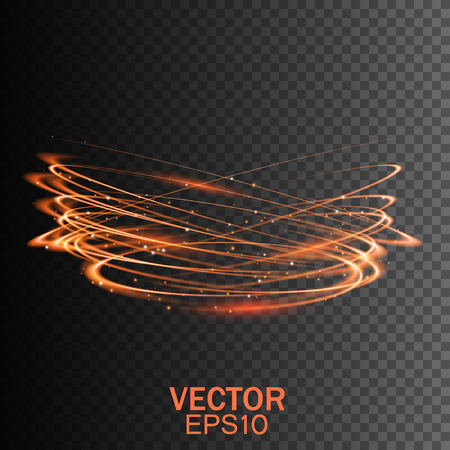 light trail: Glow light effect. Glowing fire ring trace. Magic light. Gold light. Swirl trail effect on transparent background. Vector illustration