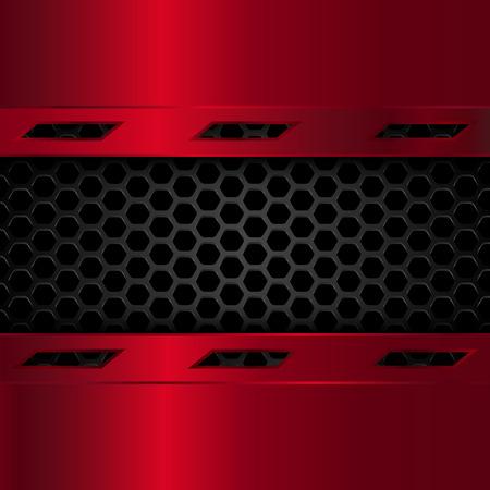 黒と赤メタリックな背景。赤い金属プレートと六角形の幾何学的なパターンは。ベクトル図 EPS10  イラスト・ベクター素材