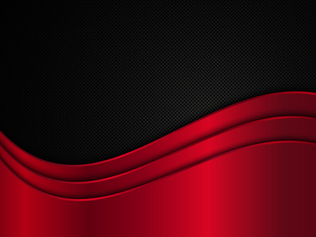 black metallic background: Red and black metallic background. Metal background with waves. Abstract vector illustration EPS10