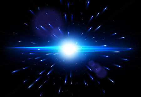 Explosion on a black background. Vector glowing light effect. Lens flare effect. EPS10