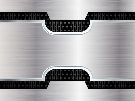 Argent et fond noir métallique. Résumé illustration vectorielle EPS10 Vecteurs