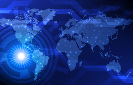 digital world: Abstract Digital Technology Background With World Map. Vector Template Design. Illustration