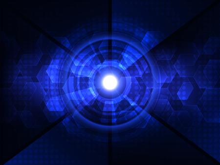 cybernetics: Abstract blue futuristic digital technology background. Vector illustration Illustration