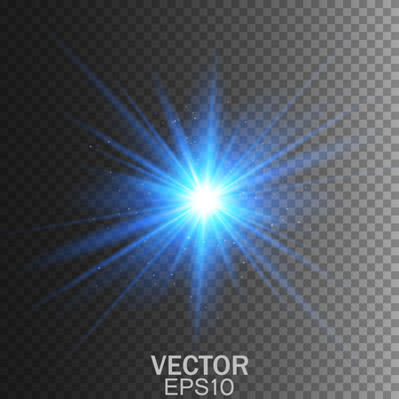 blue star background: Glow light effect. Star burst with sparkles.Vector lens flare. Illustration