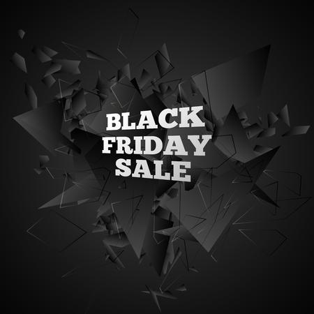 bomb price: Black friday sale. Abstract black explosion. Vector illustration Illustration