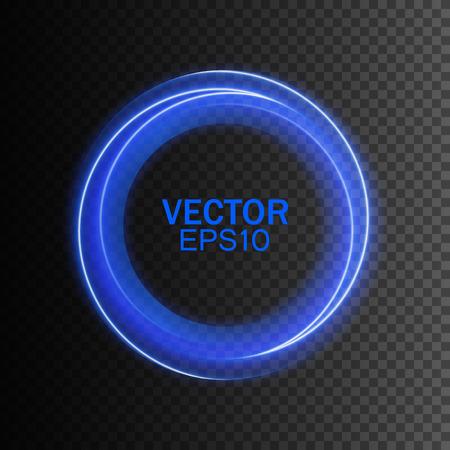 透明な背景に青い抽象旋回サークル。モダンなデザインのベクター イラスト。