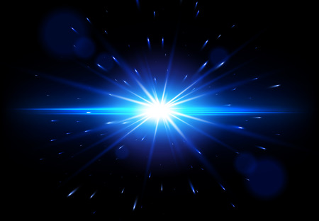 Blue Lens Flare. Vector glowing light effect. Star burst with sparkles.