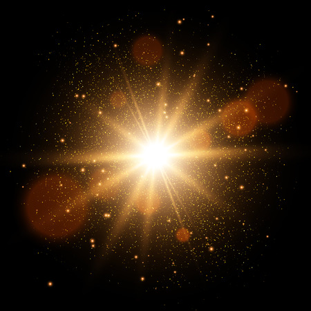 Golden Glow light effect. Star burst with sparkles.