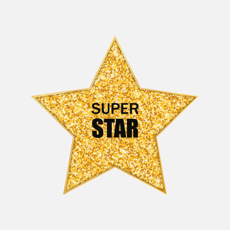 Golden Star. Gold glitter vector icon. Isolated on white background.