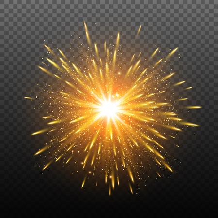 Light effect. Star burst with sparkles.