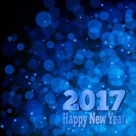 happy: 2017 Happy New Year Banner. Abstract blue bokeh background. Illustration
