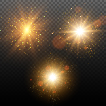 Set of golden glowing lights effects isolated on transparent background.