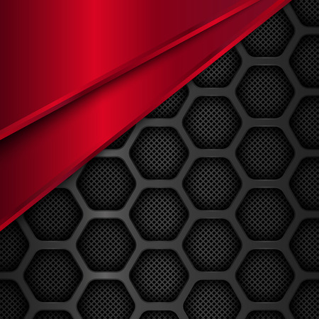 Hexagon metal background. Black and red geometric