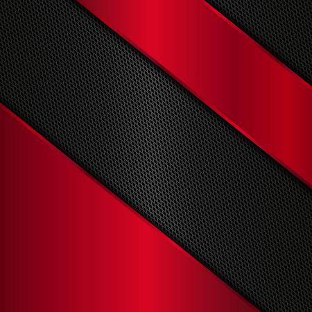Red and black metallic background. Abstract vector metal background Ilustração