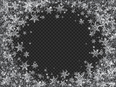 Glittering Snow Blizzard Effect on Transparent Background.