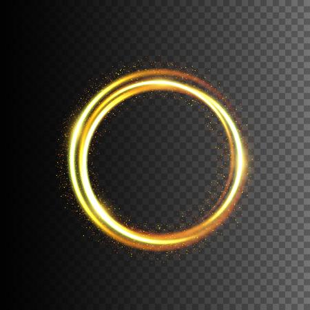 Gold glittering light frame. Swirl trail effect. Vector illustration EPS10