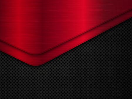 Black and red metal background. Illustration