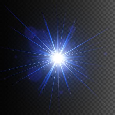 Transparent glow light effect. Star burst with sparkles. Illustration