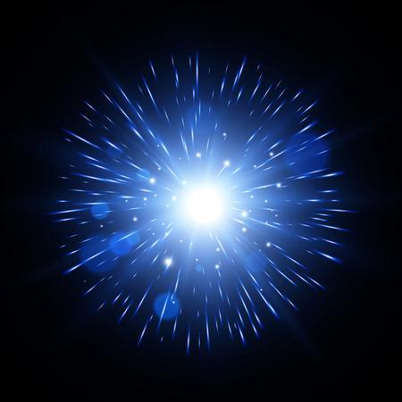 translucent: Light effect. Star burst with sparkles. Blue glitter texture. Vector explosion. EPS10