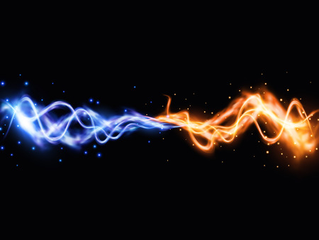 Collision of two forces with yellow and blue lights. Vector light effect. Realistic lightnings. EPS10