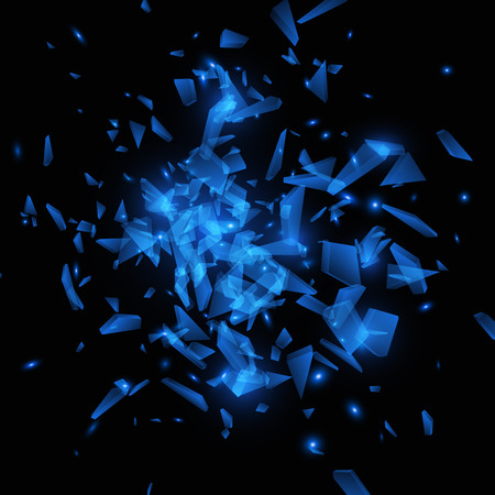 Blue vector explosion. Shatter Glass. Abstract background EPS10 向量圖像