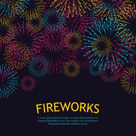 Festive fireworks background. Abstract vector illustration EPS10
