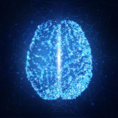 人間の脳。技術の背景を抽象化します。ベクトル図 EPS10  イラスト・ベクター素材