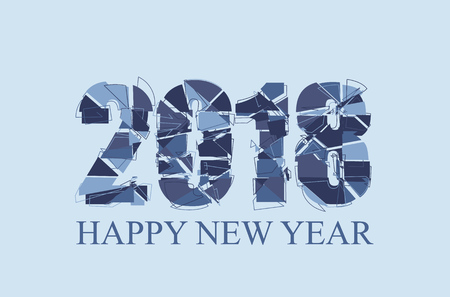 Happy New Year 2018 Text Design. Abstract vector illustration EPS10 Çizim