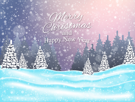 Christmas and New Year Landscape Background. Vector illustration