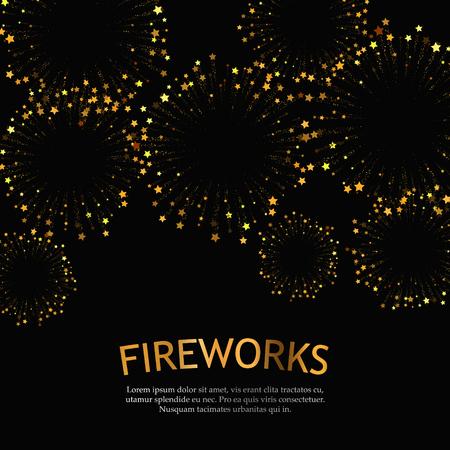 Festive gold fireworks background. Abstract vector illustration EPS10 Illustration