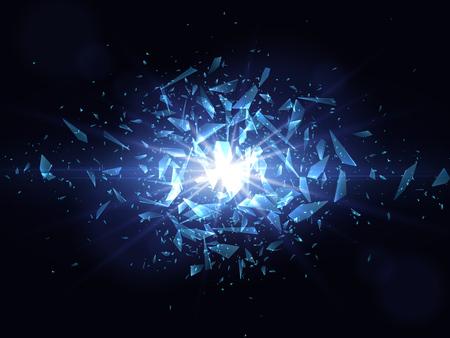 A Shards of broken glass. Abstract explosion. Vector illustration 向量圖像