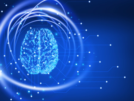 Human brain. Abstract technology background Vector illustration