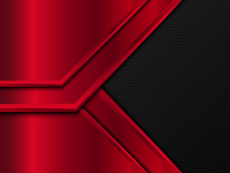 Black and red metal background. Abstract vector illustration.
