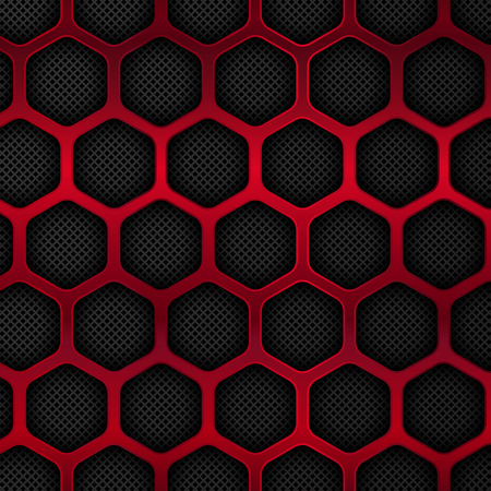 Black and red metal background. Hexagon pattern. Vector illustration.