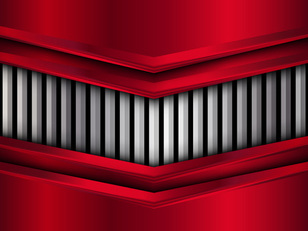 Silver and red metal background. Abstract vector illustration.