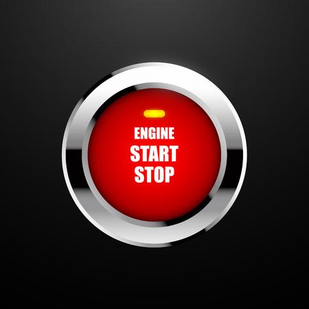 Motor startknop. Vector illustratie Eps10