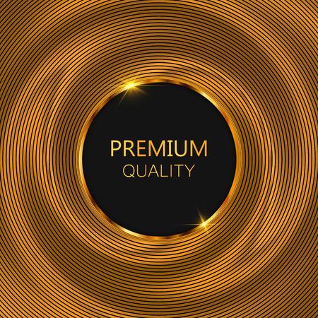Luxury golden round frame. Gold glitter background. Vector illustration. EPS10