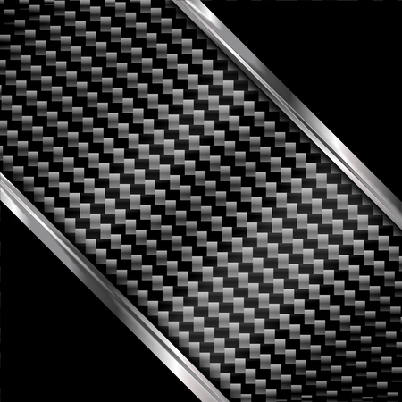 Silver and black metal background. Vector carbon fiber texture. Abstract illustration EPS10