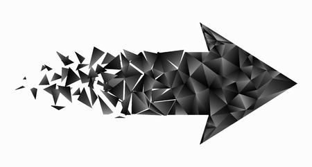 Black triangular arrow . Abstract vector illustration.