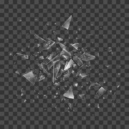 Broken shattered glass debris. Vector transparent effect. Abstract background.