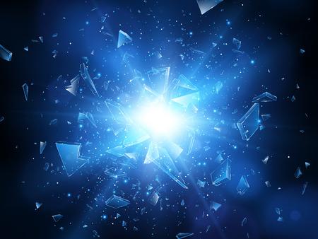 Broken glass Abstract explosion illustration .