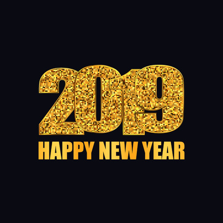 Happy New Year banner. Gold glitter 2019 numbers illustration