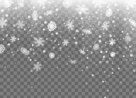 Falling snow, snowflakes. Christmas and New Year background. Vector illustration EPS10