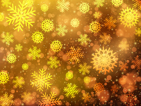 Christmas background with golden snowflakes. Abstract vector background EPS10