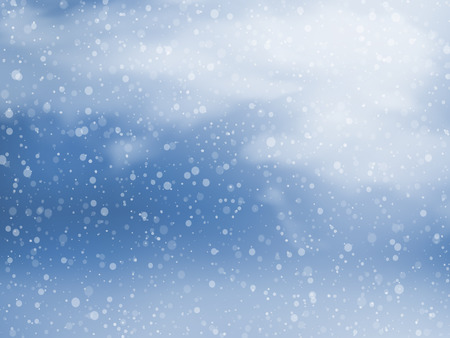Winter sky with falling snow. Christmas and New Year background. Vector illustration EPS10