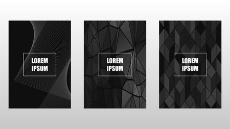 Set of covers, brochure, flyer template design. Black and white geometric background. Vector illustration EPS10