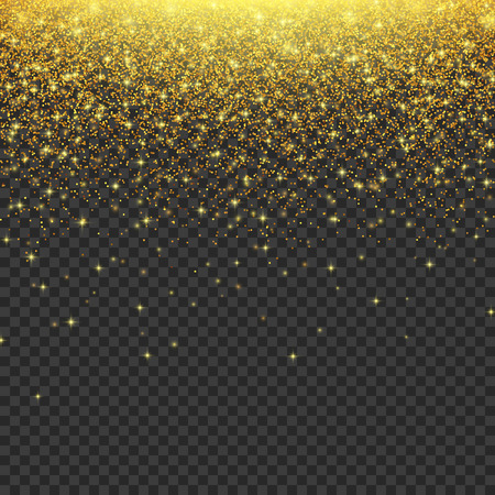 Gold glitter stardust background. Falling stars texture. Vector illustration EPS10