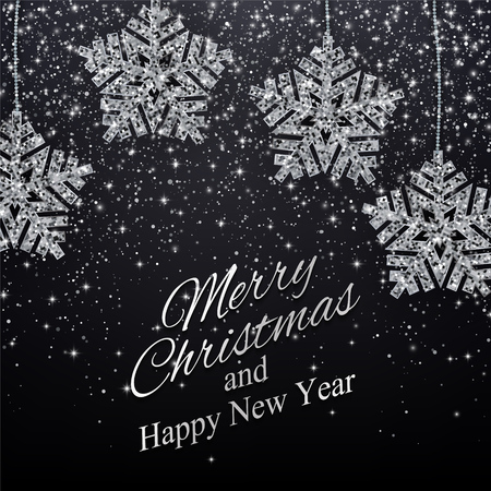 Christmas, New Year background with silver glitter snowflakes. Vector illustration EPS10 Stock fotó - 127269572